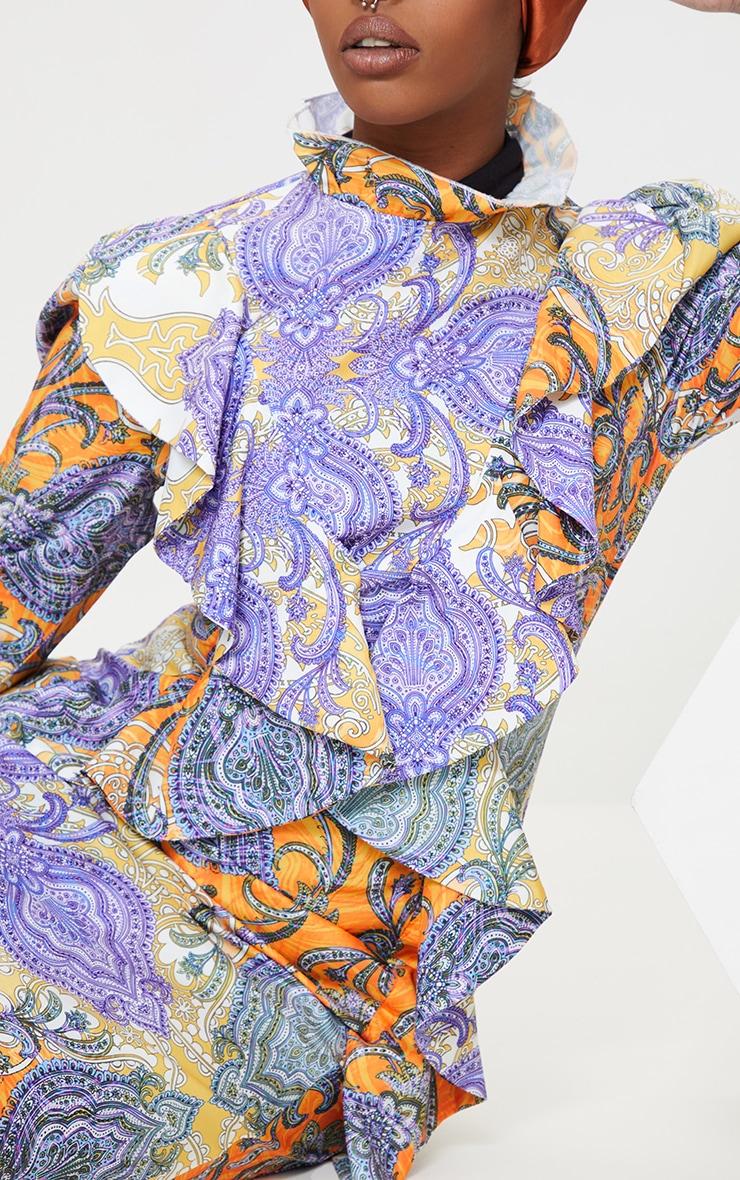 Multi Paisley Printed Frill High Neck Midi Dress 4