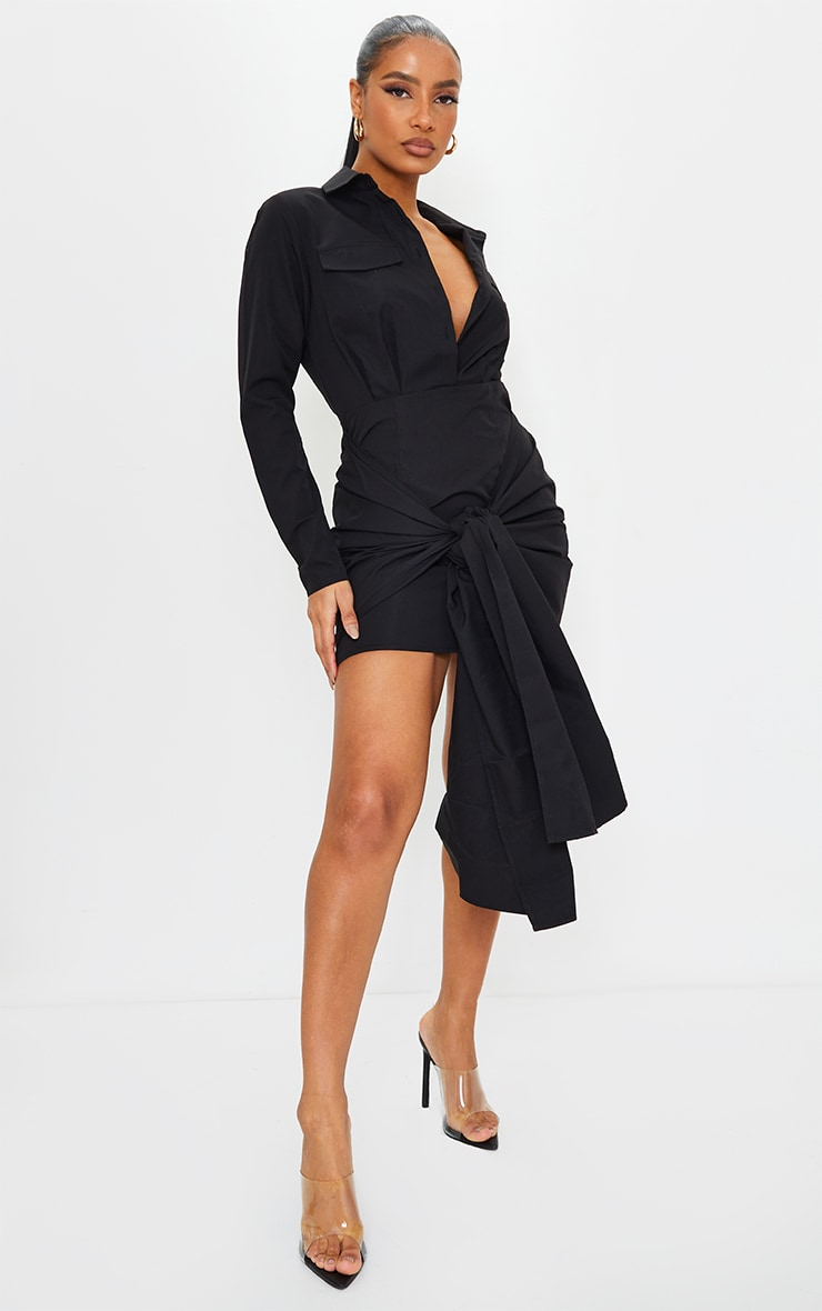 Robe chemise noire à détail noué et deux poches 1