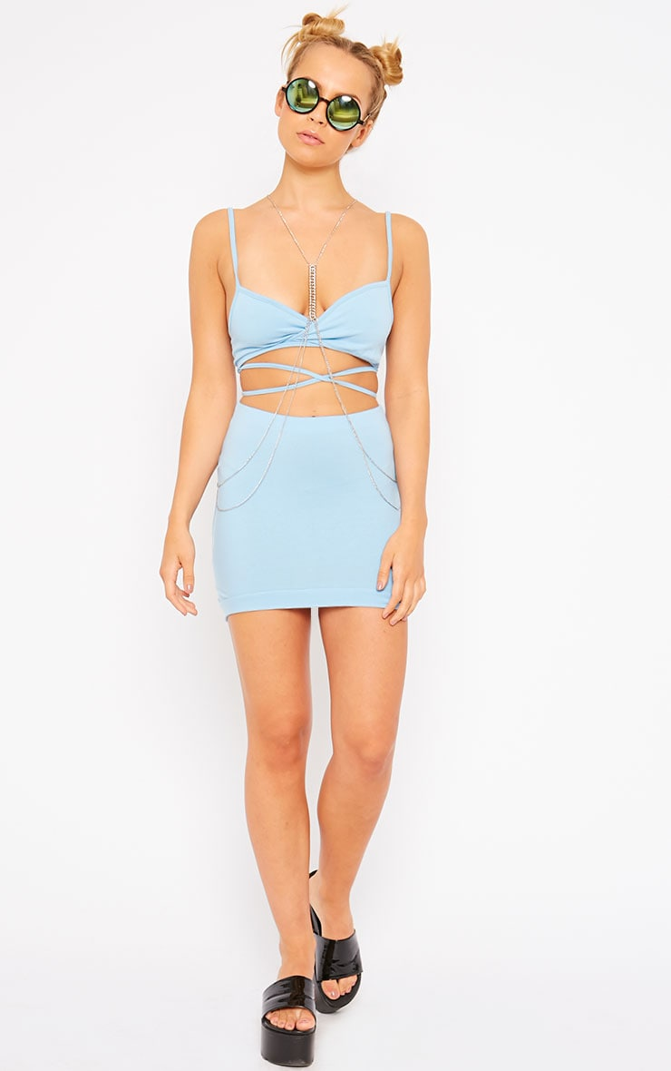 Phoenix Blue Curved Hem Mini Skirt 5