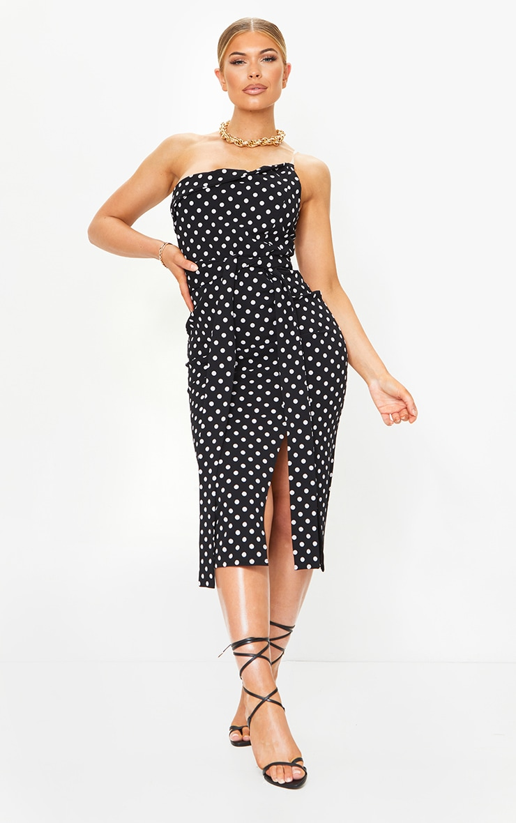 Black Polka Dot Clear Strap Wrap Tie Waist Midi Dress 1