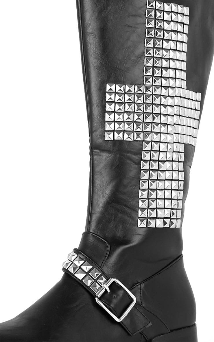 Abi Black Biker Boots With Silver Cross 4