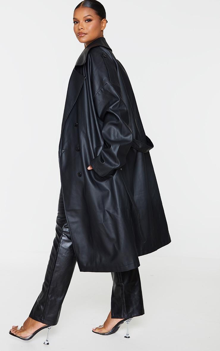 Plus Black Faux Leather Drop Arm Midi Trench 2