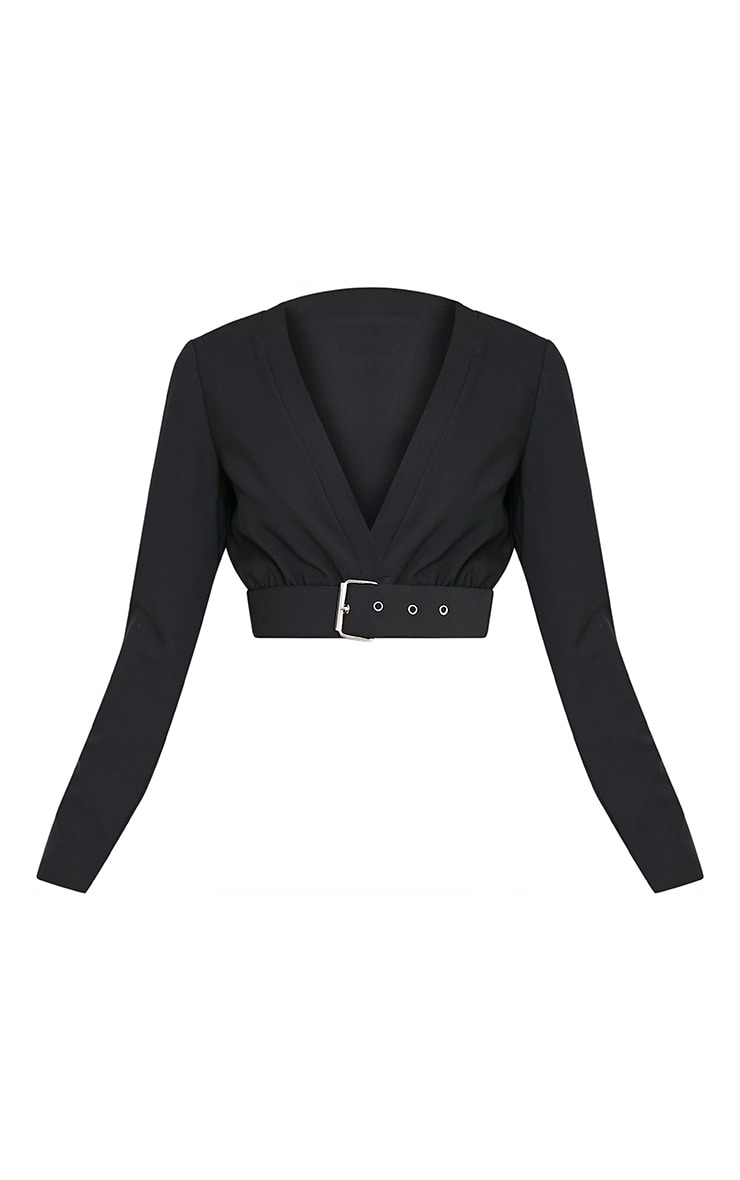 Aileen Black Buckle Plunge Crop Longsleeve Top 3