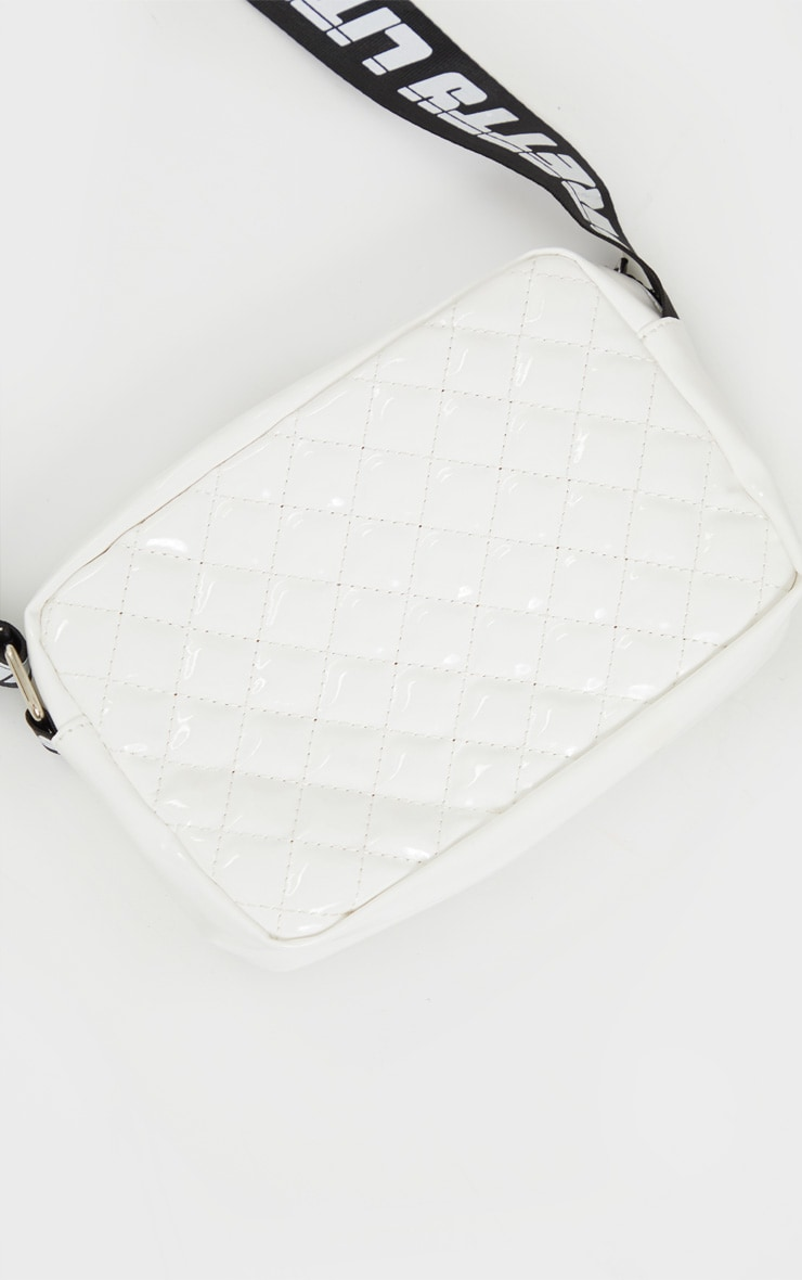 PRETTYLITTLETHING White Shiny Quilted Cross Body Bag 3