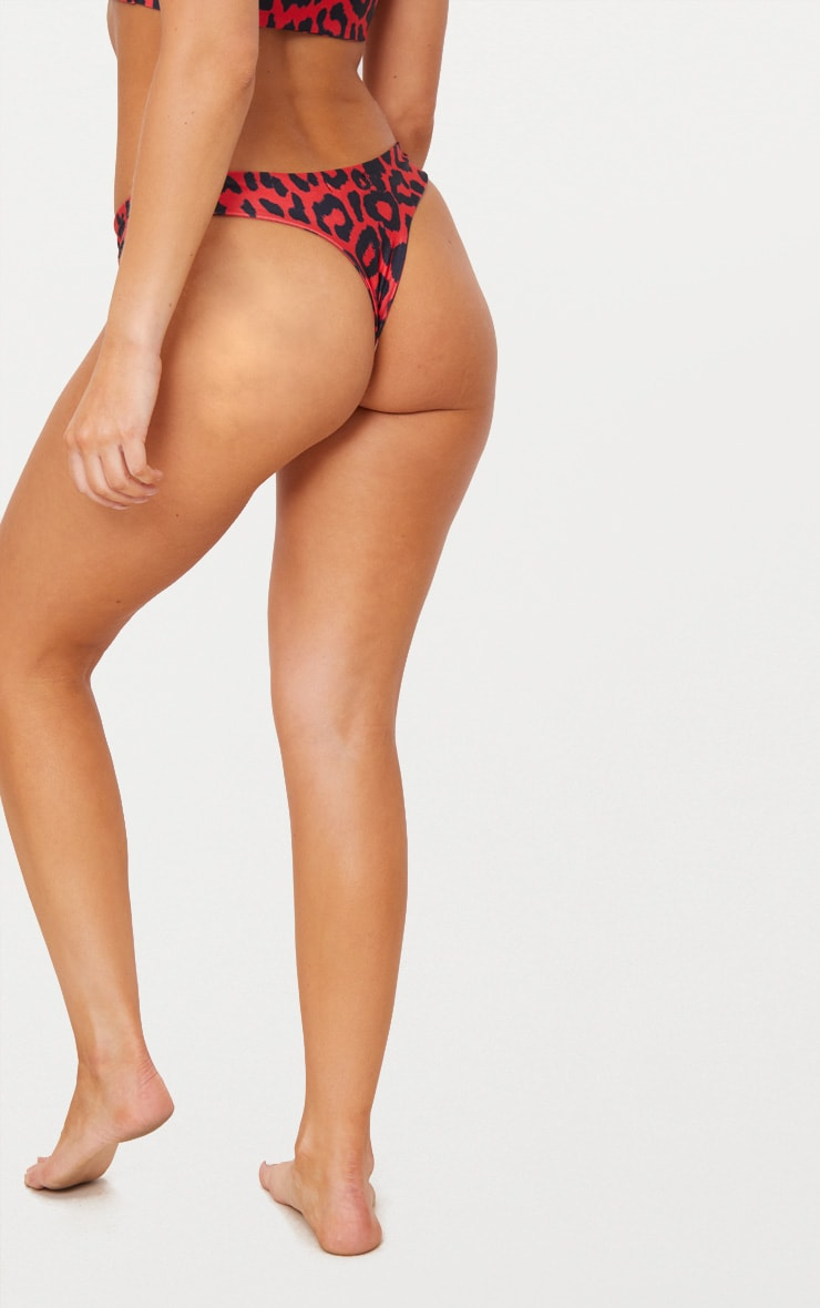 Red Cheetah Print Bikini Bottom 4