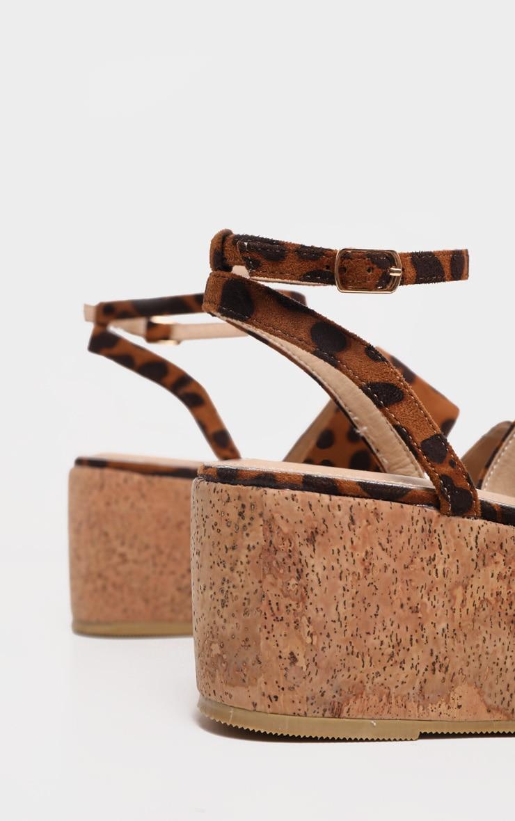 Leopard Twin Strap Cork Flatform Sandal 5