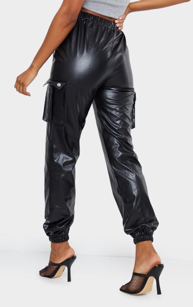 Black Faux Leather Cargo Pants 3