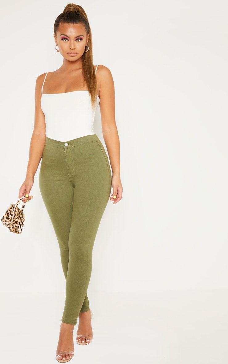 Khaki Denim Jegging 1