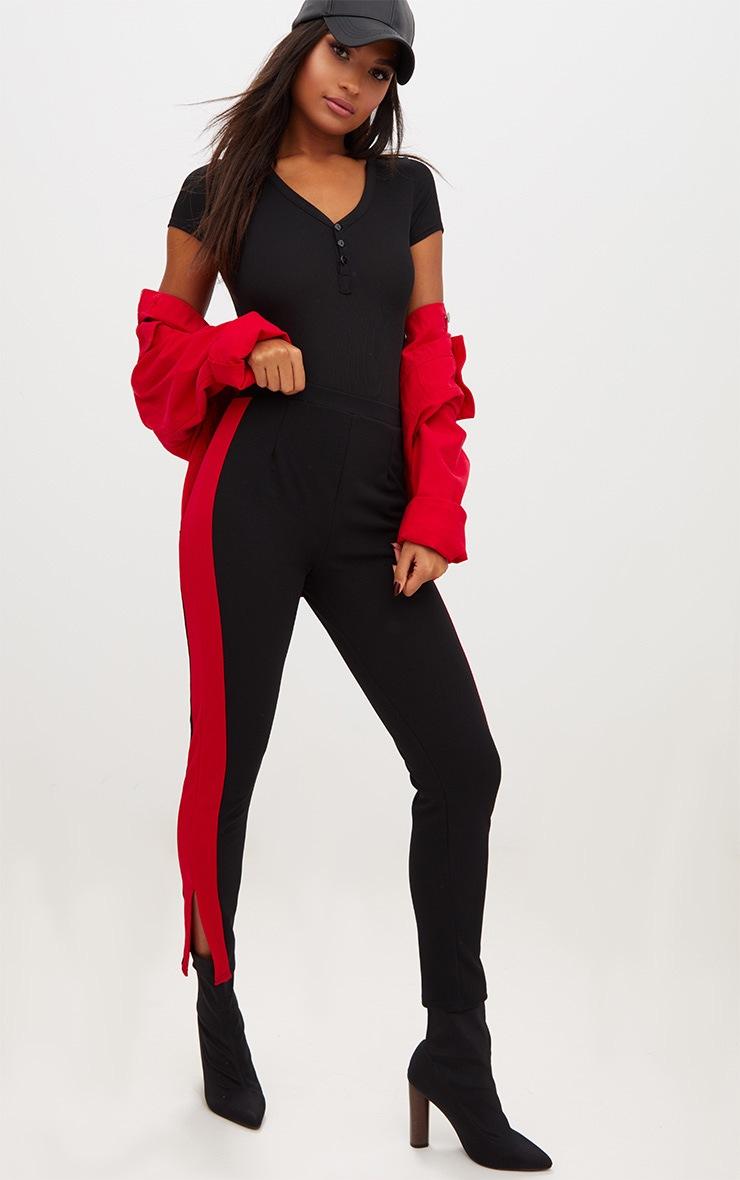 Black Button Front Short Sleeve Rib Thong Bodysuit 4