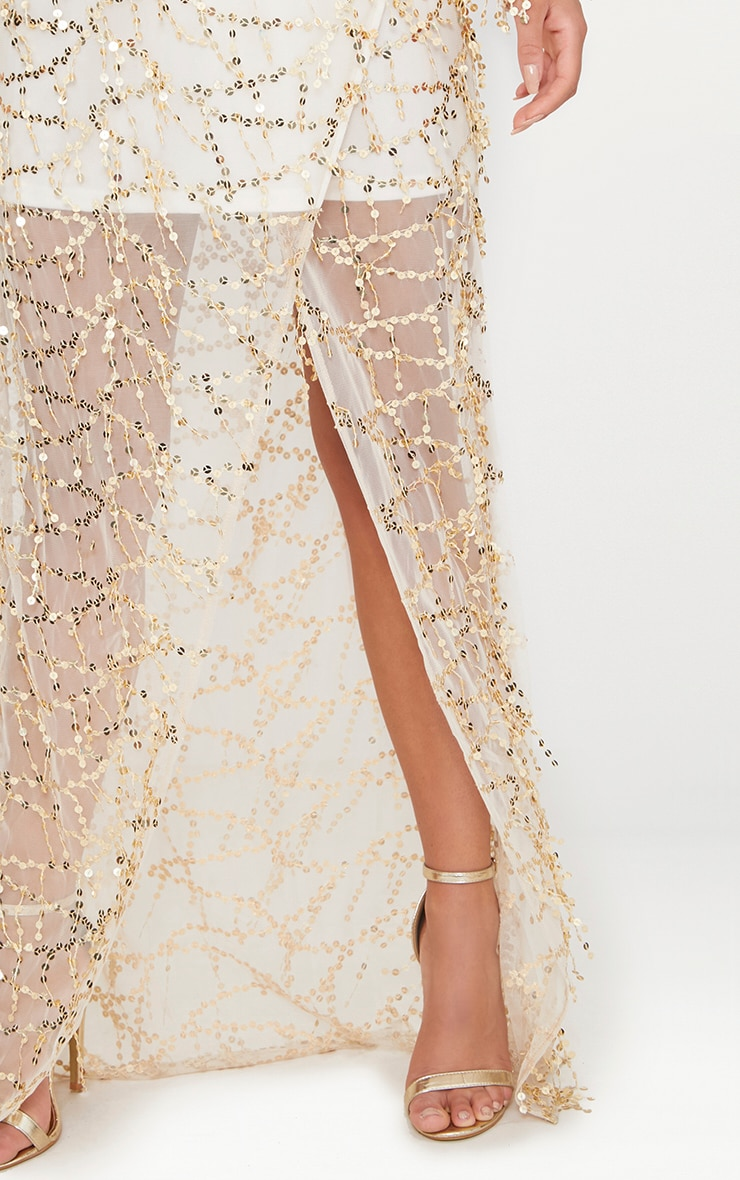 Nude Bardot Sequin Wrap Maxi Dress 5