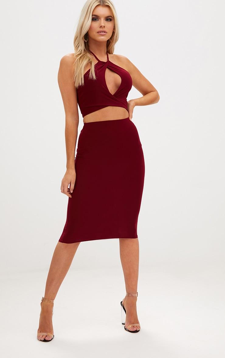 Petite Wine Slinky Midi Skirt 1
