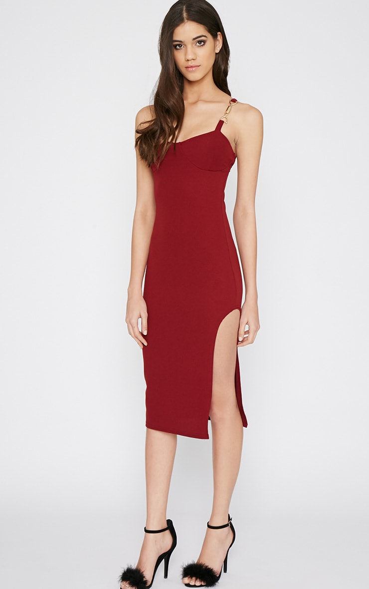 Tyler Burgundy Chain Strap Bodycon Dress 1