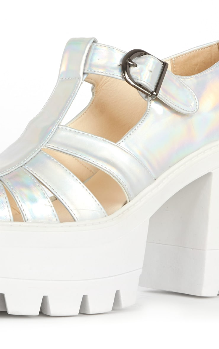 Jamiya Silver Holographic Cut Out Heeled Sandals  4