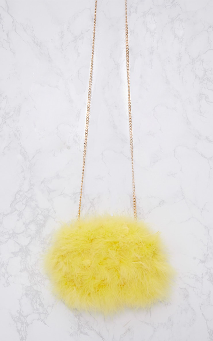 Yellow Marabou Feather Clutch Bag 3