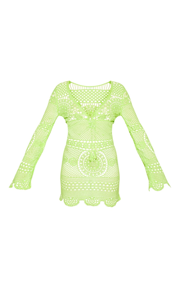 Neon Lime Crochet Cotton Dress 3