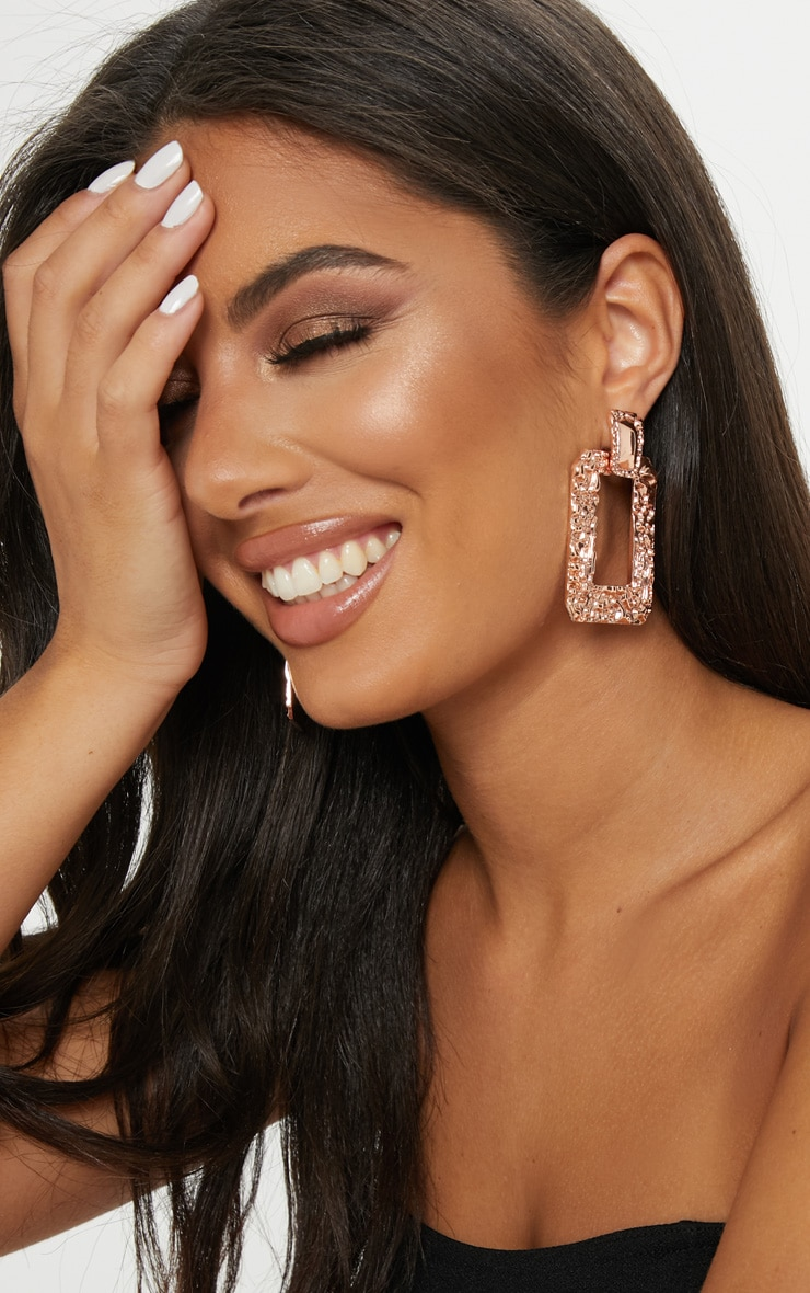 Rose Gold Hammered Square Statement Drop Door Knocker Hoops 1