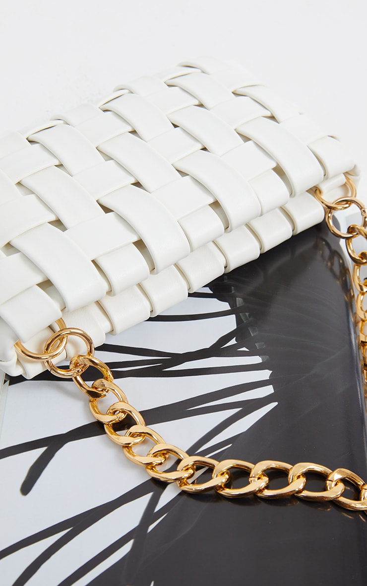 White Oversized Weave With Gold Chain Shoulder Bag 3