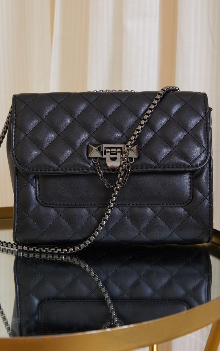 Black Diamond Quilted Cross Body Bag 2