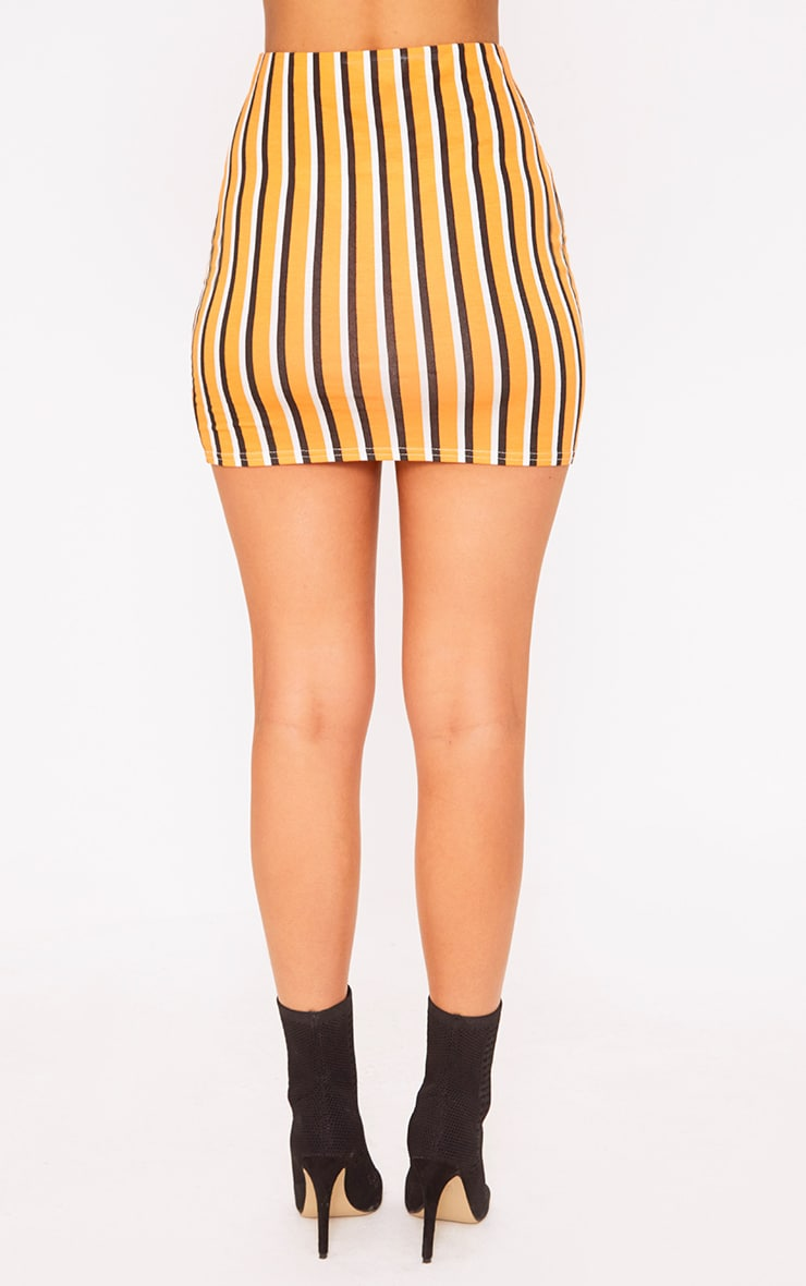 Orange Jersey Stripe Mini Skirt 4