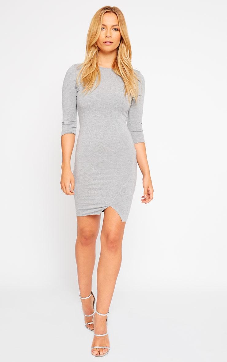 Basic Grey Scoop Back V Hem Dress 3