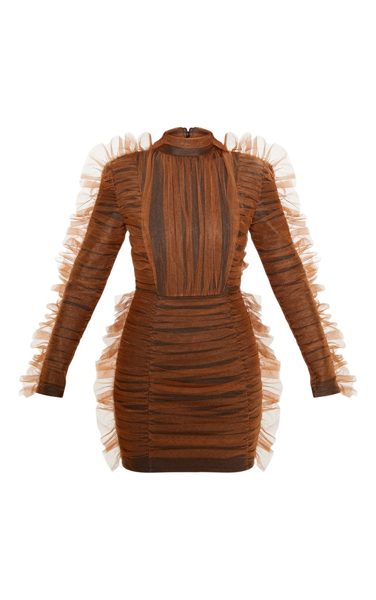 Brown Bandage Chiffon Frill Bodycon Dress 3