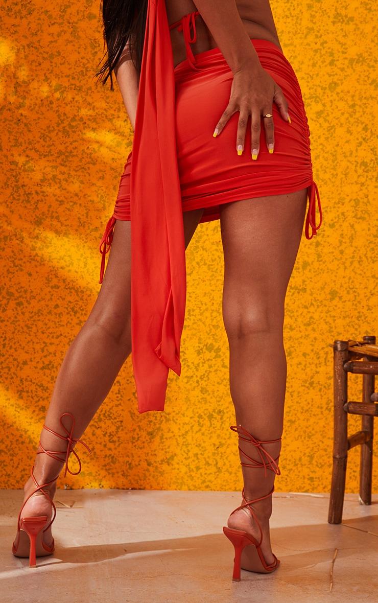 Orange Ruched Mini Skirt 4