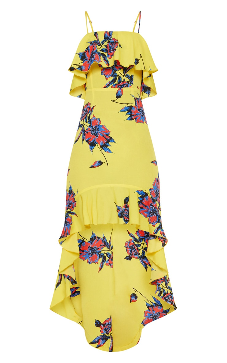 Yellow Floral Frill Detail Dipped Hem Maxi Dress 4