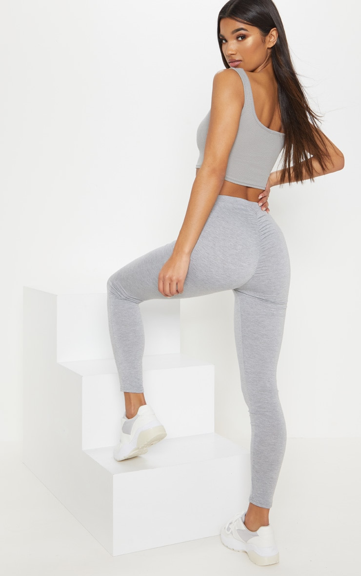 Grey Marl Ruched Back Jersey Legging 1