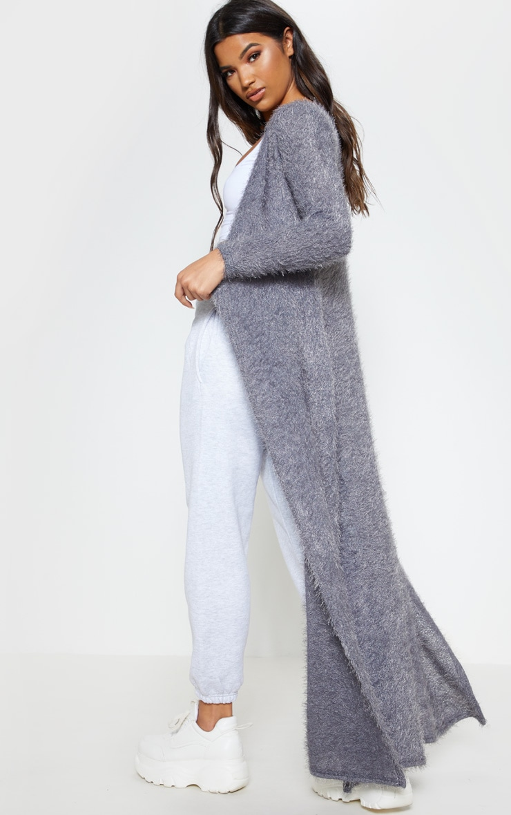 Grey Eyelash Knit Maxi Cardigan 2