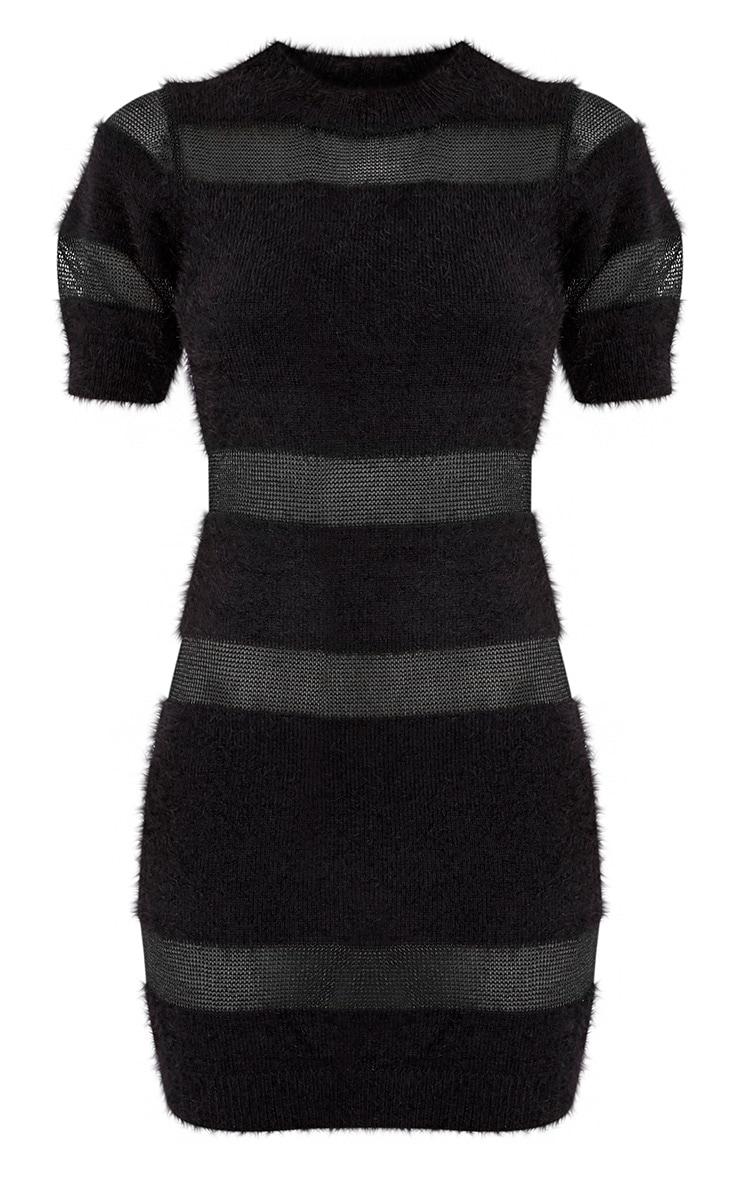 Abriellae robe mini noire en maille et empiècement en tulle 3