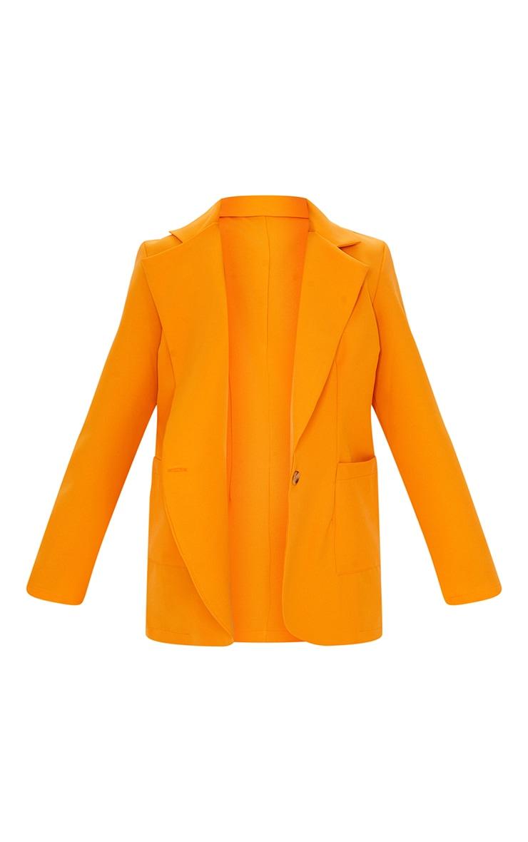 Orange Woven Single Breasted Oversized Blazer 5