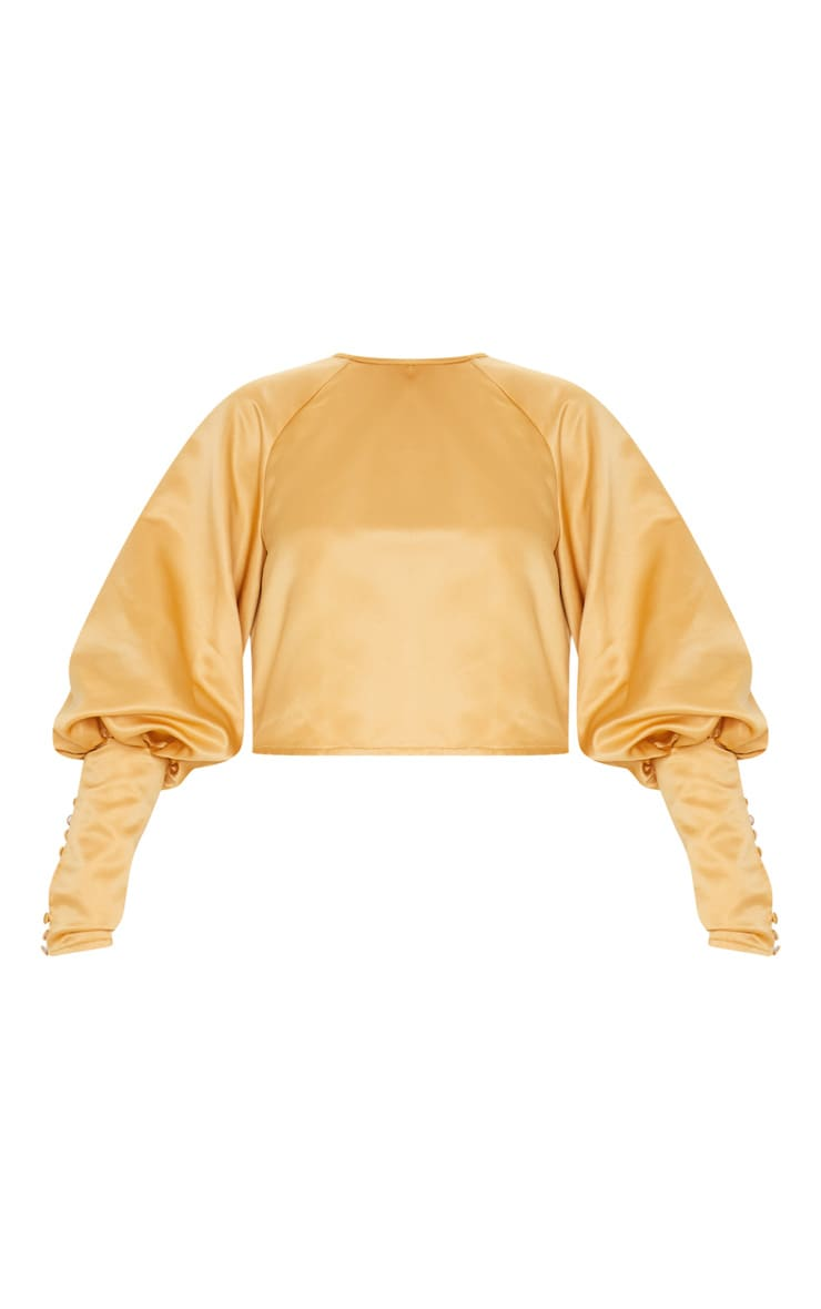 Tan Satin Puff Button Detail Long Sleeve Blouse 3