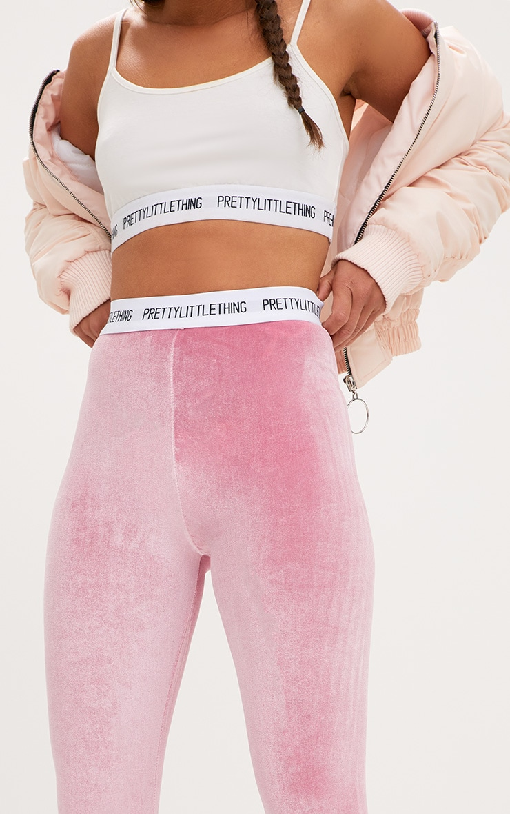 PRETTYLITTLETHING Light Pink Velvet Leggings 5