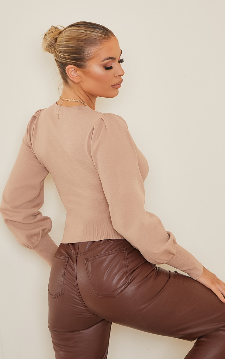 Nude Underbust Knitted Puff Shoulder Top 2