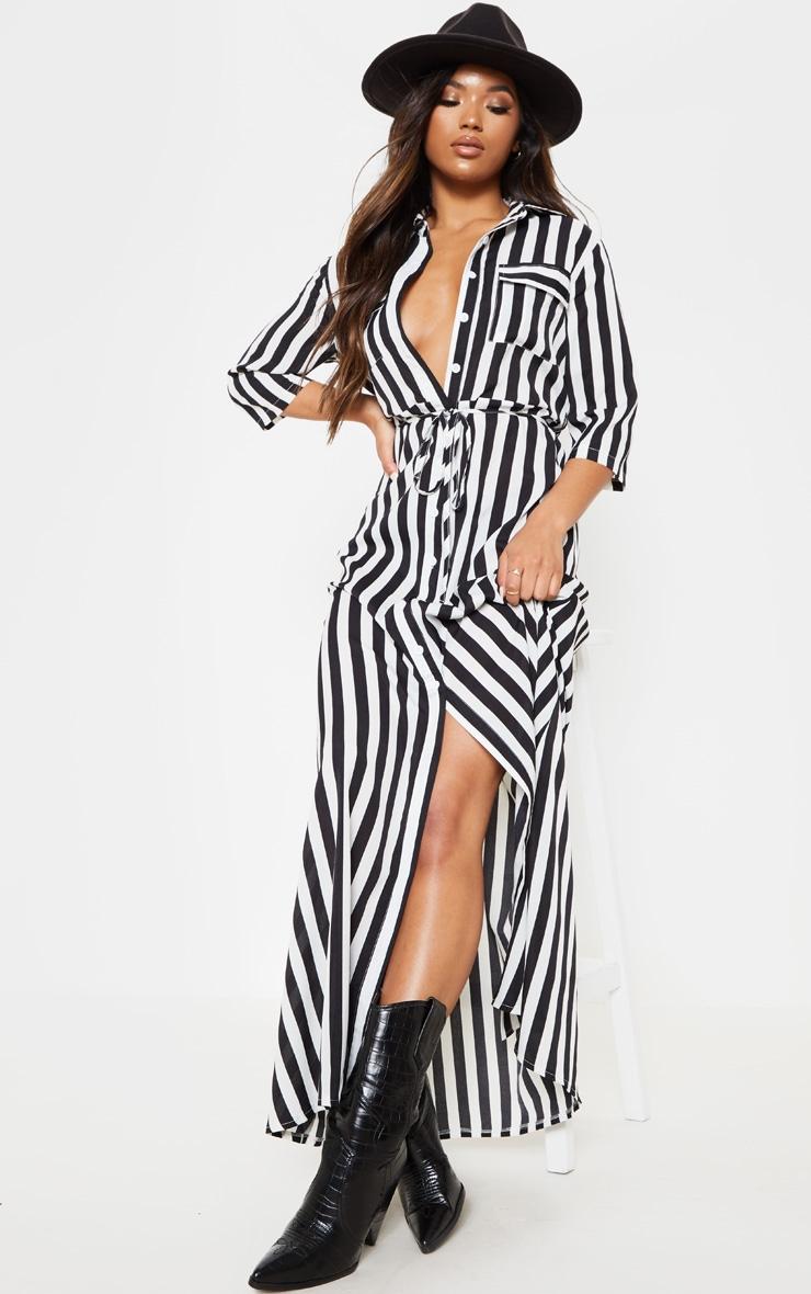 Magnifiek Monochrome Printed Stripe Pocket Maxi Shirt Dress | PrettyLittleThing #WD47