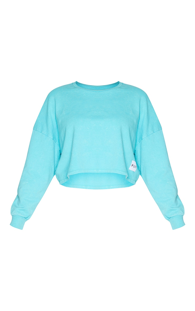 PRETTYLITTLETHING Blue Label Washed Long Sleeve Crop T Shirt 5