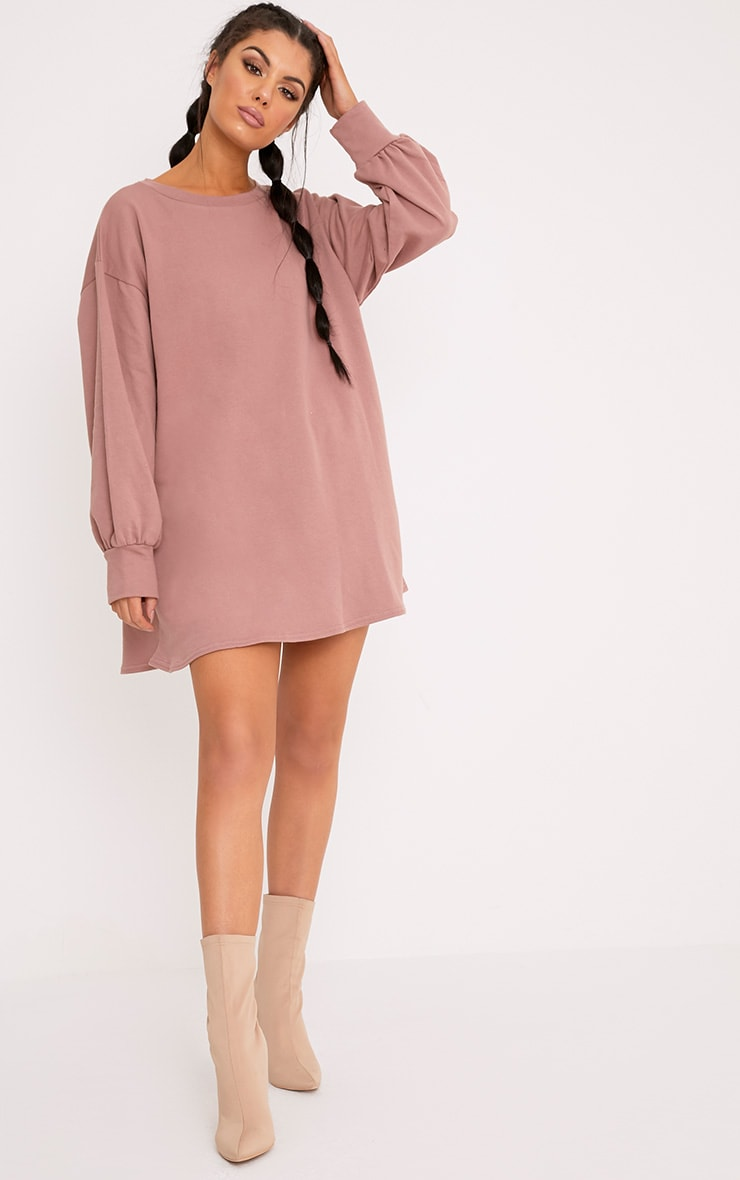 Dark Mauve Oversized Sweater Dress 1