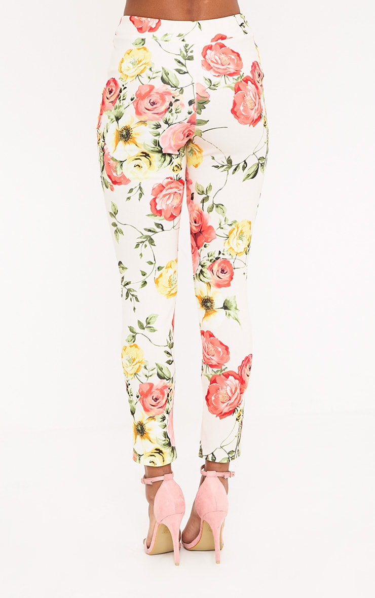 Sage Stone Floral Print Trousers 4