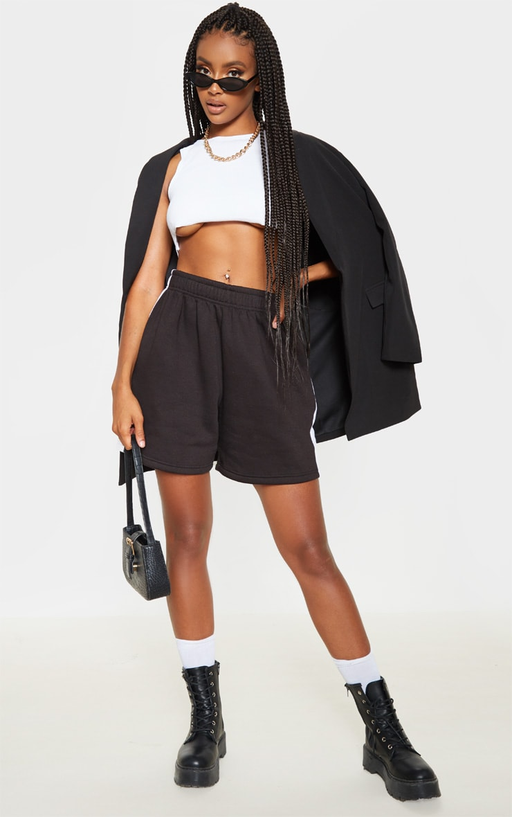 Black Sweat Longline Contrast Side Stripe Short 5