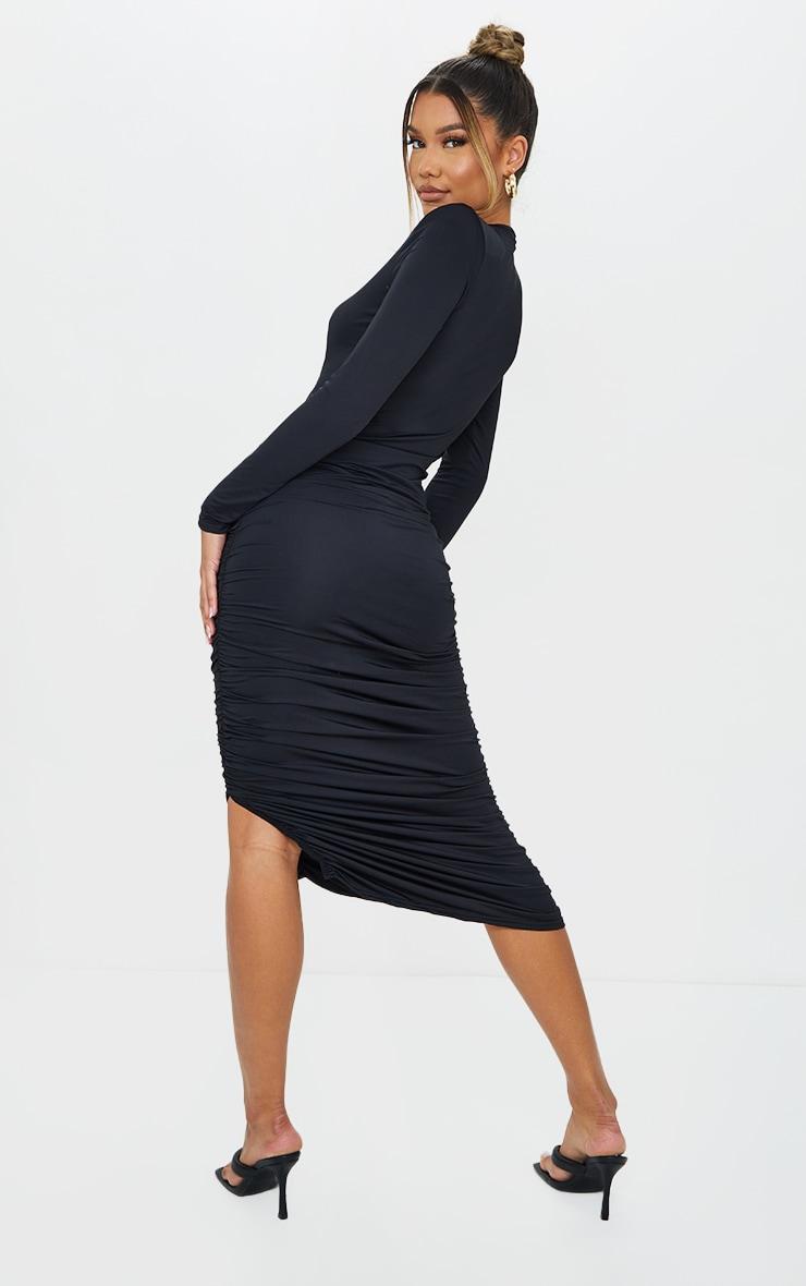 Black Slinky Shoulder Pad Ruched Long Sleeve Midaxi Dress 2
