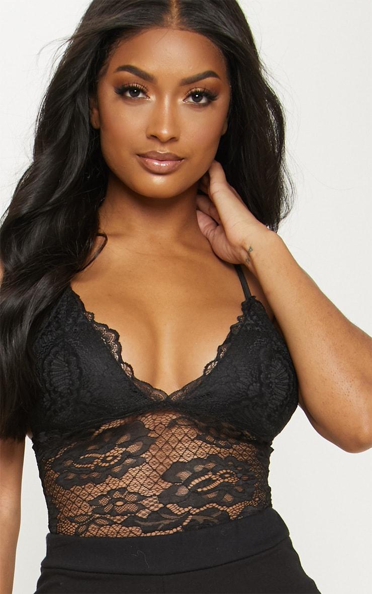Shape Black Scallop Edge Lace Bodysuit 6