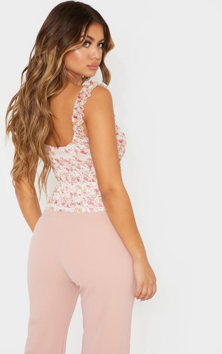 Pink Ditsy Floral Printed Shirred Sleeveless Crop Top 2