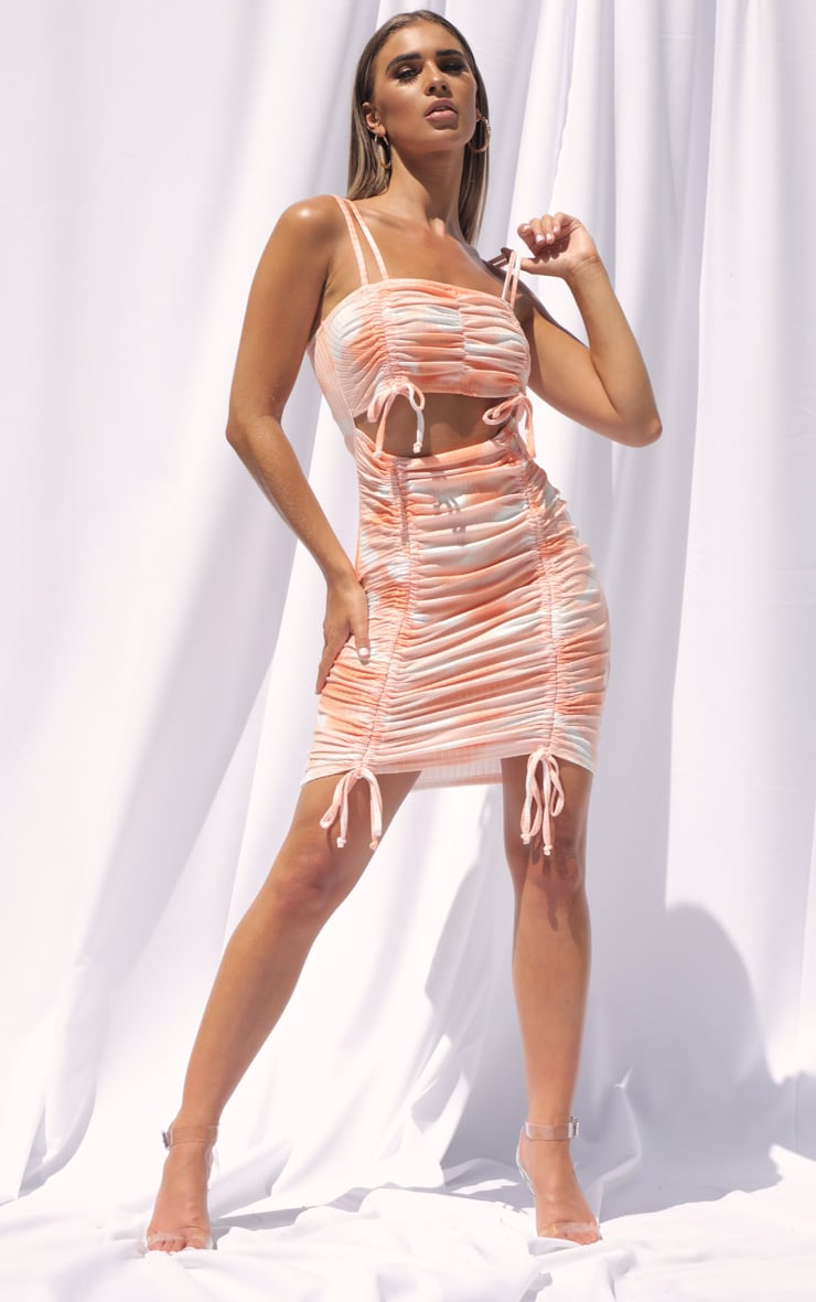 Orange Tie Dye Ribbed Double Ruched Cut Out Bodycon Dress 3