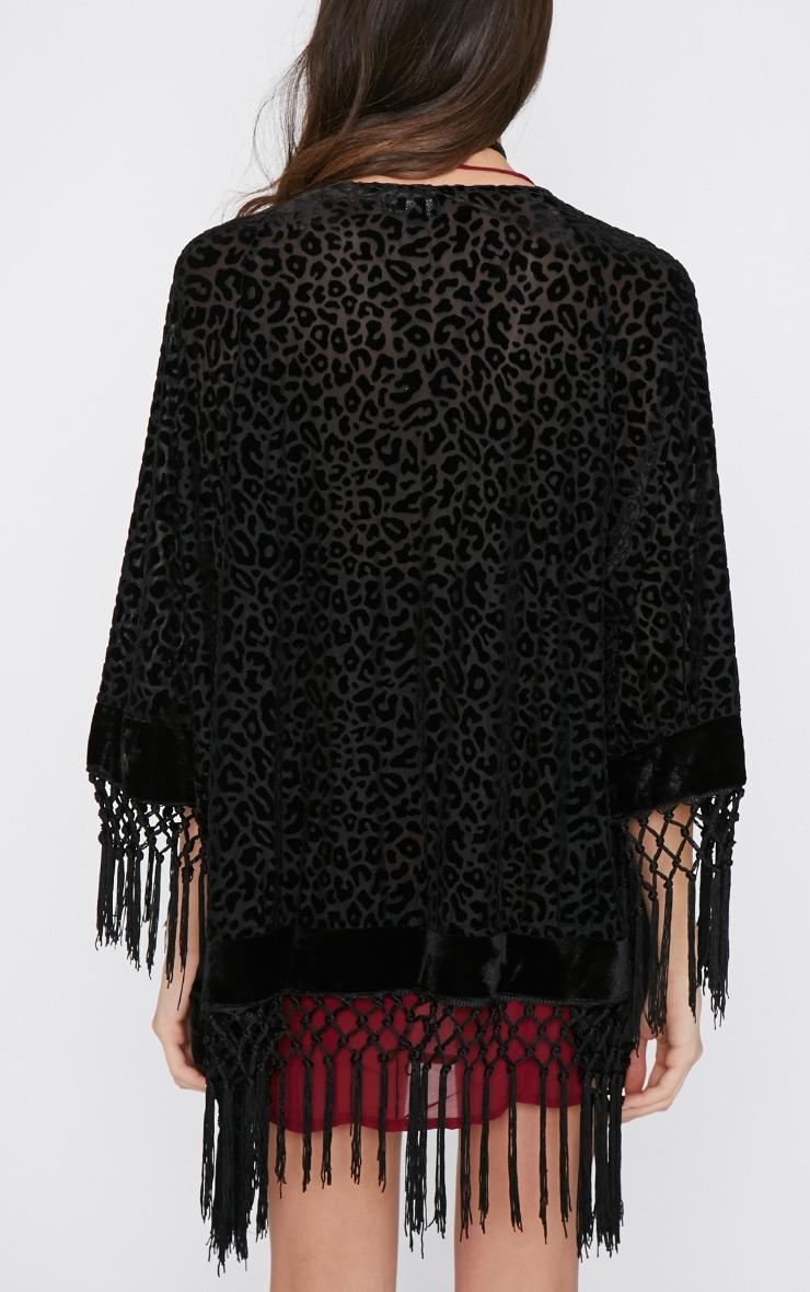 Gretel Black Leopard Velvet Tassel Kimono  2