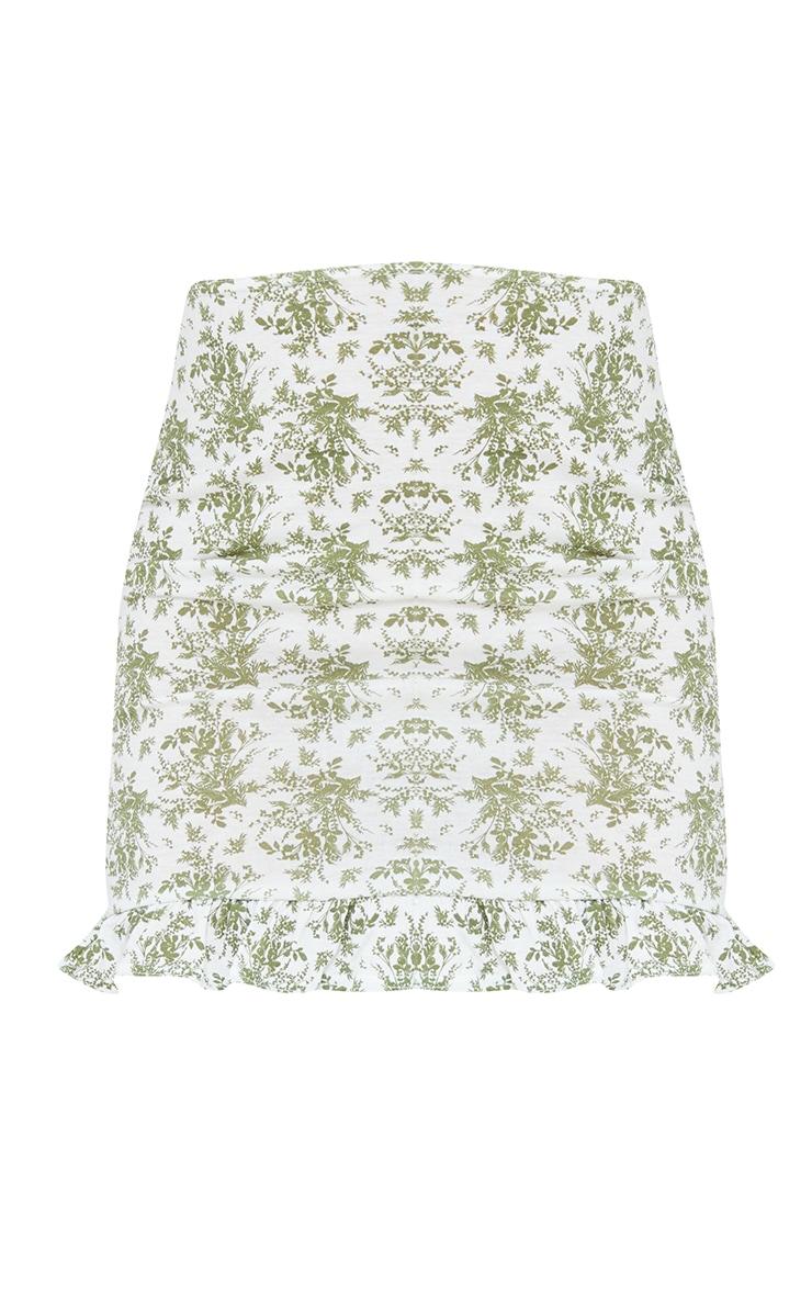 Sage Green Floral Printed Jersey Frill Hem Mini Skirt 6