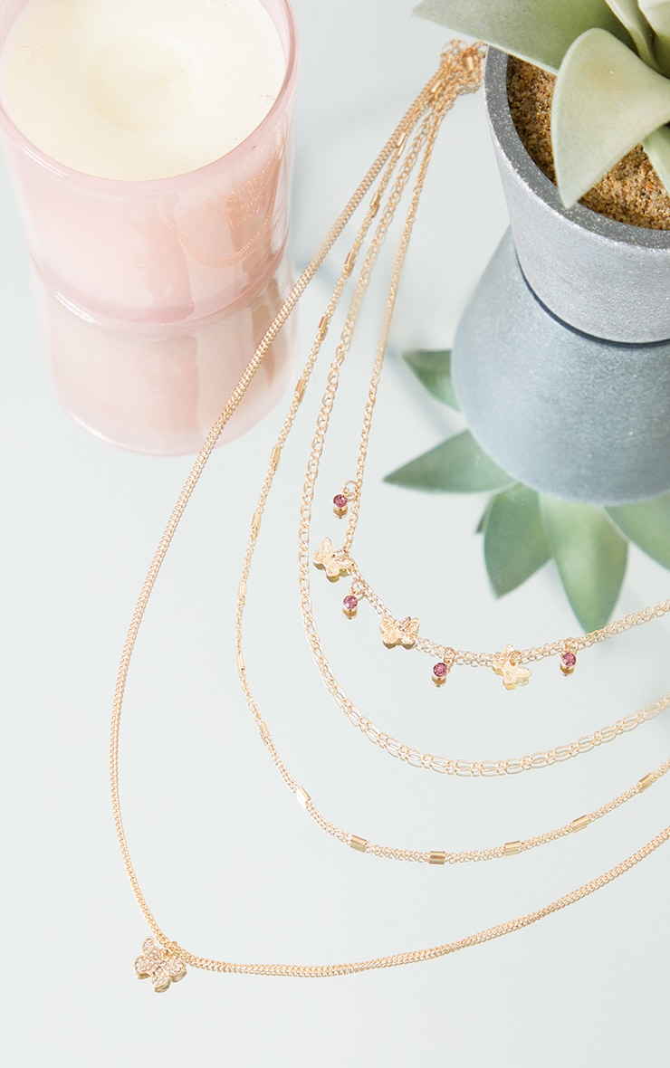 Gold Dainty Butterfly Assorted Layering Necklace 3