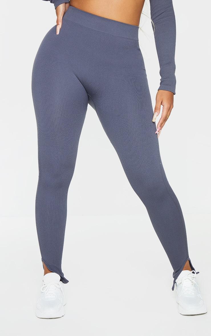 Shape Charcoal Contour Ribbed Split Hem Leggings 2