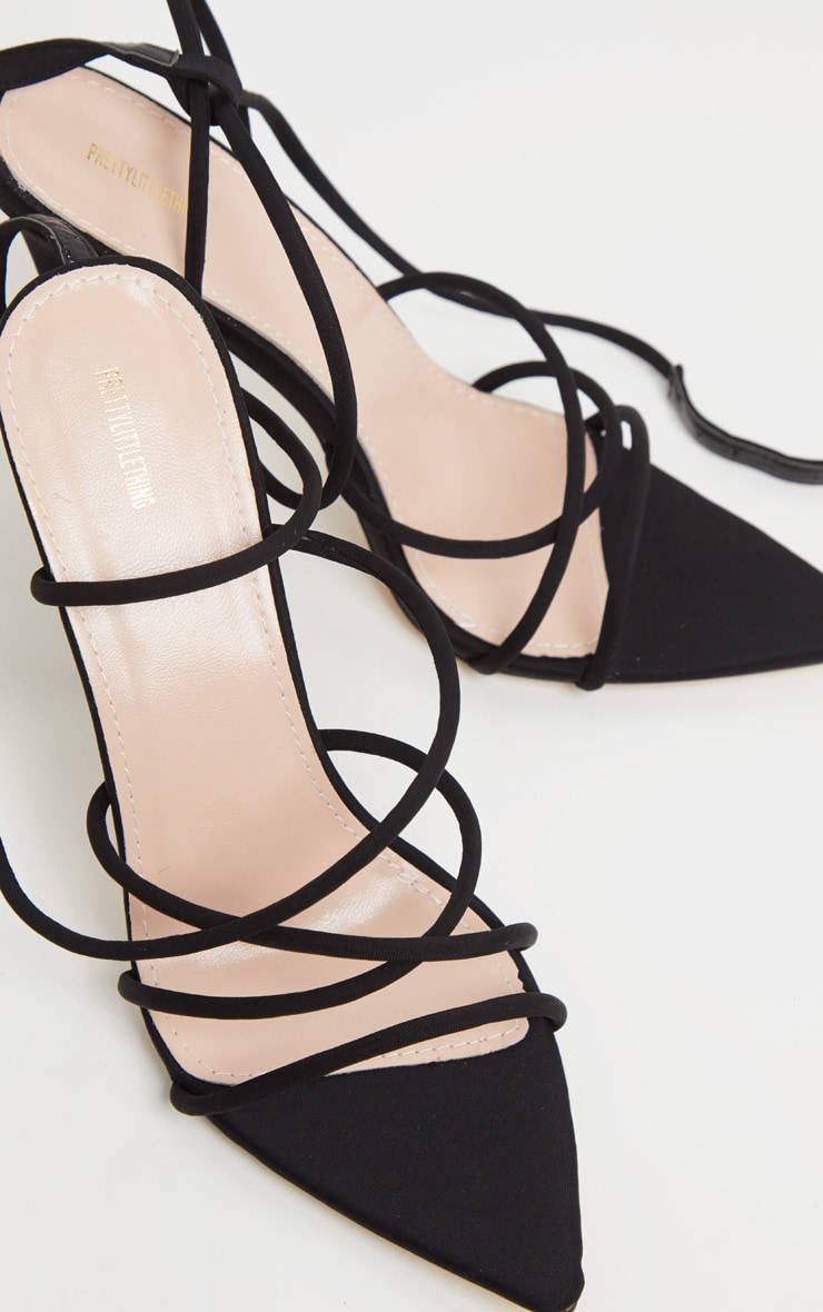 Black Strappy Point Toe Sandal 3