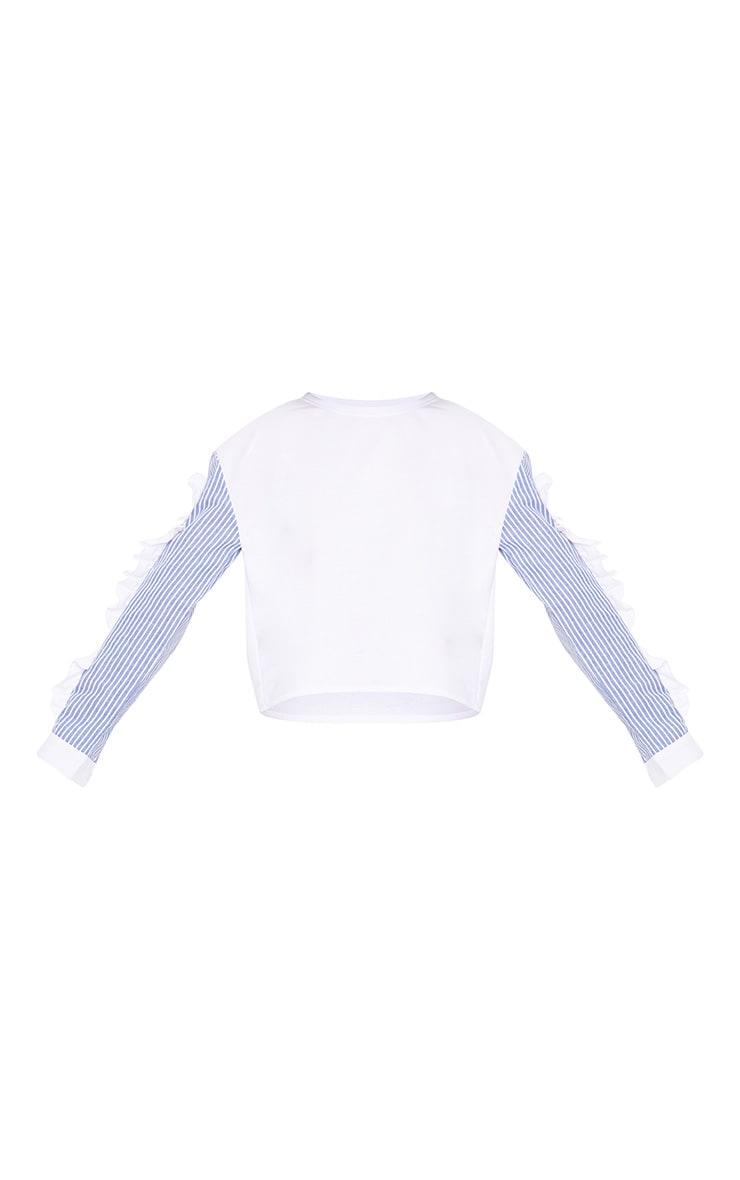 White Stripe Sleeve Frill Detail Sweater 3
