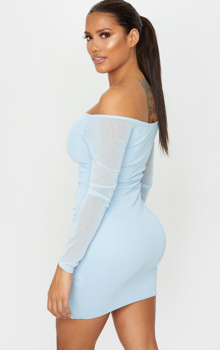 Shape - Robe moulante en mesh froncée bleu cendré 2